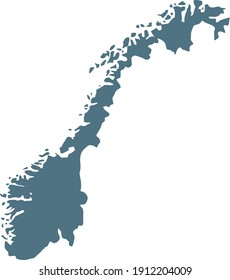 vector illustration of Blue map of Norway