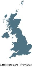vector illustration of Blue map of United Kingdom