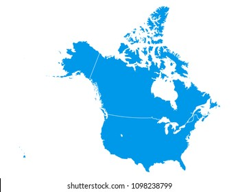 Vector illustration of a blue map of USA and Canada