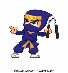 Vector illustration of a blue ninja with nunchaku