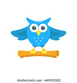 Vector illustration of blue owl isolated on the white background. Cartoon character. The bird flies and carries a scroll. Owl mail delivery