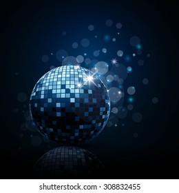 Vector Illustration of a Blue Party Background with Disco Ball
