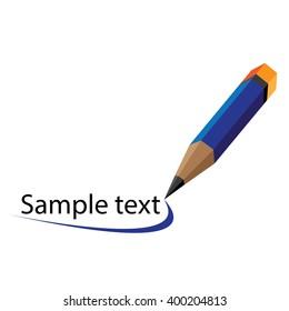 Vector illustration of blue pencil logo