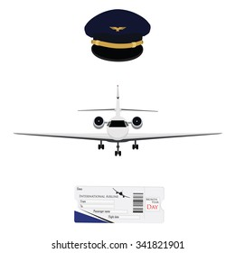 Vector illustration blue pilot cap with badge, uniform. Civil aviation and air transport. Airplane ticket plane ticket, boarding pass, check in. Private business jet