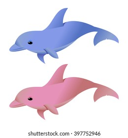 Vector Illustration. Blue and Pink Dolphins Isolated on White.