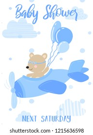 Vector illustration of a blue plane with a pilot bear and balls on a background of clouds. Image for boys. Ð¡oncept of holidays, birthday, wrappers, prints, clothes, cards, banner, textile, flyer.