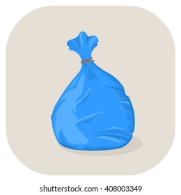 Vector illustration of a Blue plastic garbage bag icon. Tied plastic trash sacks ready for disposal and garbage collection.