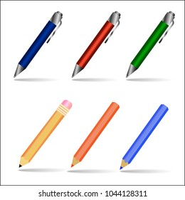 Vector illustration with blue, red, green pens and pencils used in banners, leaflets, postcards, websites.