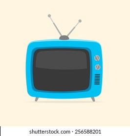 Vector illustration blue retro tv and tiny antenna isolated on white background. Flat Design