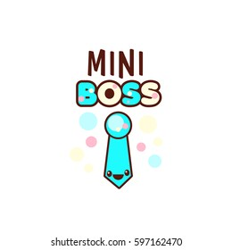 The vector illustration of blue ribbon and the mini boss text with stylish kawaii emoji. Vector style boys gift emoticons for print on t-shirt, one piece body gift for kids.