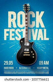 vector illustration blue rock festival concert party flyer or posterdesign template with guitar, place for text and cool effects in the background