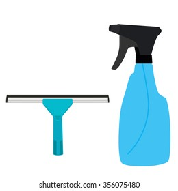 Vector illustration blue rubber window glass squeegee, cleaner and bottle with spray. Cleaning supplies