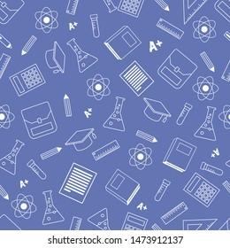 Vector illustration blue school seamless pattern background