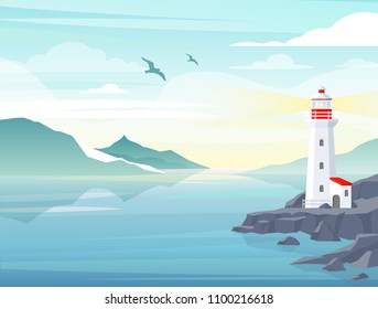 Vector illustration of blue sea background with lighthouse on rock, island landscape. Blue sea background with seagull, mountains, beautiful sky and lighthouse. Navigation Beacon building in ocean.