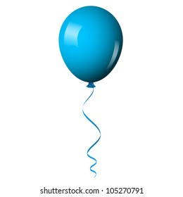 Vector illustration of blue shiny balloon