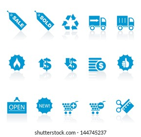 Vector illustration of blue shopping icons.