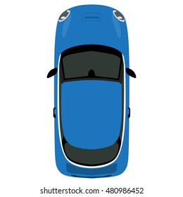Vector illustration blue small car isolated on white background. Mini car top view