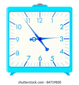 Vector illustration of a blue square alarm