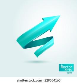 Vector illustration. Blue stylish arrow, pointer, spiral
