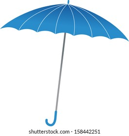 Vector illustration of a blue umbrella