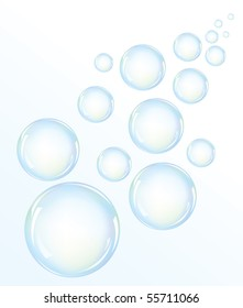 Vector illustration of blue water bubbles