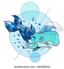 Vector illustration of blue whale on white background
