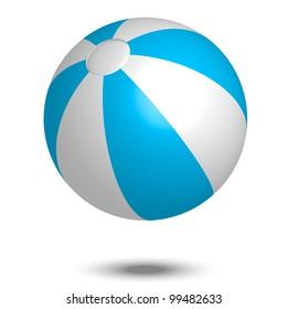 Vector illustration of blue & white beach ball