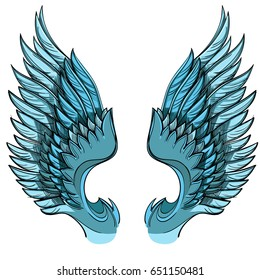 Vector illustration of blue wings, isolated on white background. Design element for emblem, sign and more.