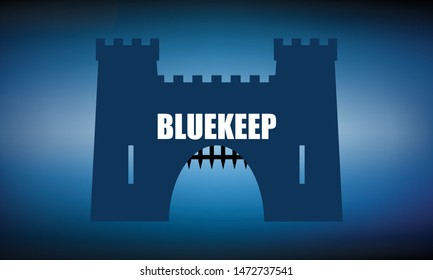 Vector illustration of BlueKeep insecurity concept. BlueKeep is a security vulnerability that was discovered in Remote Desktop Protocol (RDP) which allows for the possibility of remote code execution
