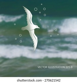 Vector illustration of blurred background for design. Seagull. Sea wave. Sea water. Travel design. Hipster label. Template for poster. Retro backdrop. EPS 8.