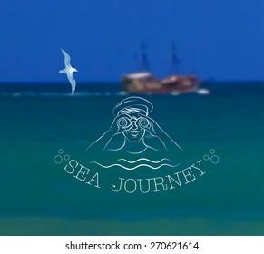 Vector illustration of blurred background for design. Ship at sea landscape. Sea adventure. Sea voyage. Travel design. Travel label. Template for poster. Retro backdrop. EPS 8.