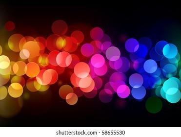 Vector illustration of blurred neon disco light dots pattern on dark background