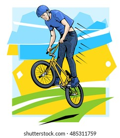 Vector illustration of a bmx rider jumping. BMX competition contestant. Beautiful extreme sport poster. Youth culture