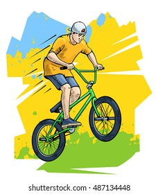 Vector illustration of a bmx rider jumping. Beautiful extreme sport poster. Bmx competition contestant shows stunts. Bicycle rider, cyclist, youth culture. Abstract background