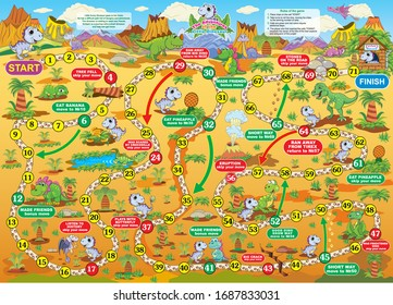 Vector illustration of board game for children. Adventures of Dino. Travel together with Dino and make new friends.