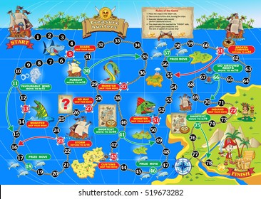 Vector illustration of board game for children. Treasure hunters. Spend a pirate ship on the ocean route and get the treasure chest.