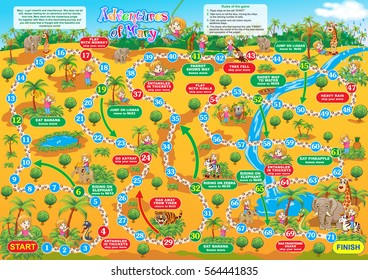 Vector illustration of board game for children. Adventures of Mary. Travel in the jungle�together with Mary and make new friends.