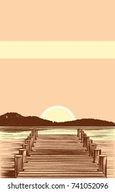 A vector illustration of a boardwalk style boat dock on a peaceful lake. The classic pen and ink  style is beautifully highlighted by  muted shades of yellow, tan, and a reddish  brown. 11x17 ratio.