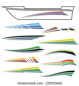 Vector  Illustration with Boat Graphics on White Background. Sea Ship Design. Striped Lines Ornament. Yacht Decorative Decals
