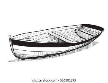 Vector illustration . Boat on beach.