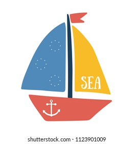Vector illustration of boat with sea text and anchor. Color sailboat isolated on white background. Yacht sailboat or sailing ship, marine cruise travel vector icon. Summer vacation and sea travel logo