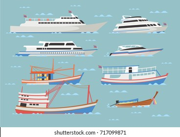 Vector Illustration of boats and ships in flat modern style with sea background : tourist ship, speedboat and thai traditional fishing boat.