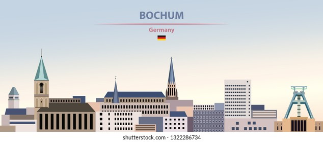 Vector illustration of Bochum abstract city skyline on colorful gradient beautiful day sky background with flag of Germany