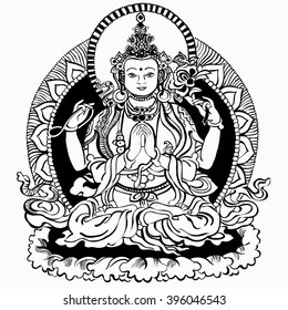 Vector illustration with Bodhisattva Avalokiteshvara. Bodhisattva who embodies the compassion of all Buddhas. A symbol of the Tibetan Buddhism. Buddha. Black and white design.