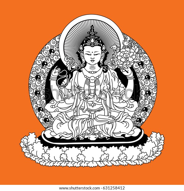 Vector Illustration Bodhisattva Avalokiteshvara Bodhisattva