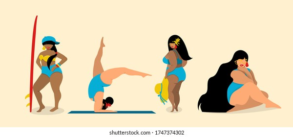 Vector illustration of body positive and multiracial women dressed in swimwear  isolated on beige. Body positive movement and beauty diversity.