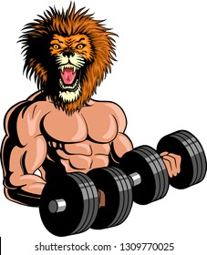 Vector illustration of a bodybuilder character with a man's body and a lion's head working out with dumbells.