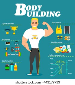 Vector illustration of  bodybuilder and sports equipment. A muscular man with yellow hair Concept of healthy lifestyle. Bodybuilding infographics with set of Bodybuilding icons