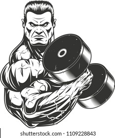 Vector illustration, bodybuilder strongmen doing exercise with dumbbells for biceps , on a white background