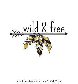 Vector illustration of boho logo. Bohemian logo with feathers and arrow. Boho logo in black and gold color. Isolated on white background. Boho hand drawn logo.